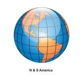 norr söder för amerikanskt jordklot Arkivfoto