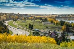 Norr Saskatchewan River Valley sikt, Edmonton, Alberta Royaltyfri Foto