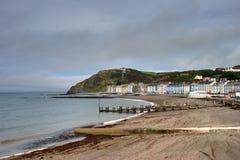 Norr strand på Aberystwyth Arkivfoto