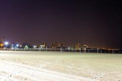 Norr strand på natten Arkivfoto