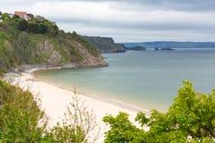 Norr strand Tenby Wales Arkivfoto