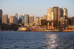 Norr Sydney med Luna Park på solnedgången Arkivfoton