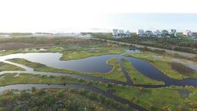 Norr Topsail ö från den höga löneförhöjningbron arkivfilmer