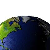 NorrAtlanten på modell av jord med präglat land Arkivbild