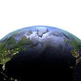 NorrAtlanten på natten på realistisk modell av jord Royaltyfri Bild