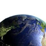 NorrAtlanten på realistisk modell av jord Arkivbild