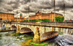 Norrbro bridge and Parliament in Stockholm Stock Images