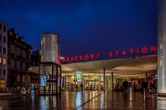 People walking to the Norreport station in Copenhagen at night. The Norreport station at night, people walking to the metro, Copenhagen, Denmark, December 5 Royalty Free Stock Photos