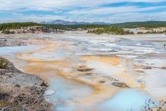 Norris Geyser Basin en el parque nacional de Yellowstone Imagen de archivo