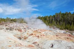 Norris geyser basin. In the Yellowstone National park, USA Stock Photos