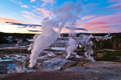 Norris Geyser Basin after Sunset Stock Photography
