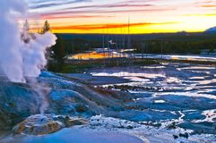 Norris Geyser Basin after Sunset Royalty Free Stock Photo