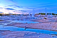 Norris Geyser Basin after Sunset Stock Image