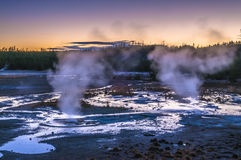 Norris Geyser Basin after Sunset Royalty Free Stock Photography
