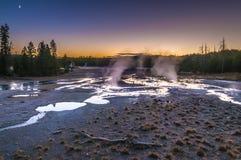 Norris Geyser Basin after Sunset Stock Photos