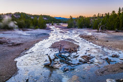 Norris Geyser Basin at Sunset Stock Photos