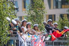 Graduation day in Sweden. Norrkoping, Sweden - June 15, 2018: Graduation day from gymnasium in the city center of Norrkoping. Students celebrating and parading Royalty Free Stock Photography