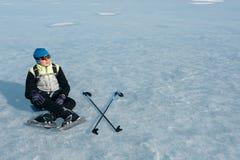 Norrman som fotvandrar skridskor Fotografering för Bildbyråer