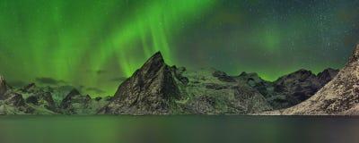 Norrsken över en fjord på Lofotenen i Norge royaltyfria bilder