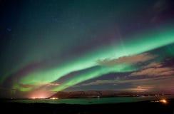 Norrsken i Island Arkivbilder