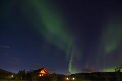 Norrsken eller nordliga ljus, Island Arkivbild