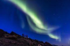 Norrsken eller nordliga ljus på Lofoten, Norge Arkivfoton