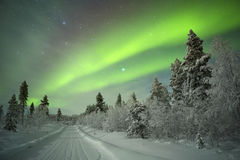 Norrsken i finlandssvenska Lapland Arkivbilder