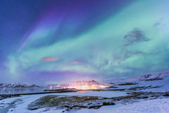 Norrsken Island för nordligt ljus Royaltyfri Foto