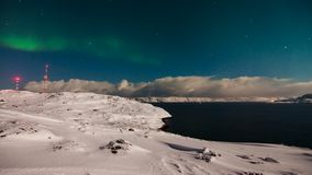 Norrsken ovanför det Barents havet lager videofilmer