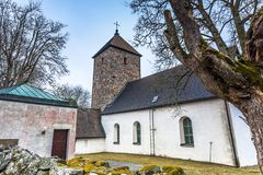 Norrsunda, Schweden - 1. April 2017: Norrsunda-Kirche, Schweden Lizenzfreies Stockfoto