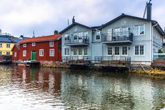 Norrtalje Schweden - 1. April 2017: Alte Stadt von Norrtalje, Schweden Stockfoto