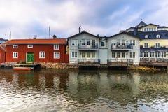 Norrtalje Schweden - 1. April 2017: Alte Stadt von Norrtalje, Schweden Lizenzfreies Stockbild