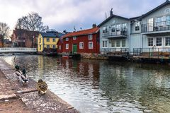 Norrtalje Schweden - 1. April 2017: Alte Stadt von Norrtalje, Schweden Lizenzfreie Stockbilder
