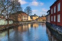Norrtalje Schweden - 1. April 2017: Alte Stadt von Norrtalje, Schweden Lizenzfreies Stockfoto