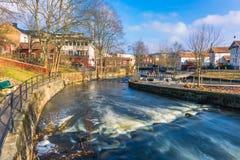 Norrtalje Schweden - 1. April 2017: Alte Stadt von Norrtalje, Schweden Stockbild