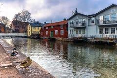 Norrtalje Suède - 1er avril 2017 : Vieille ville de Norrtalje, Suède Photo stock