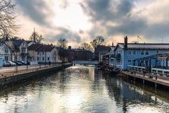 Norrtalje Suède - 1er avril 2017 : Vieille ville de Norrtalje, Suède Images libres de droits