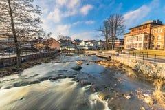 Norrtalje Suède - 1er avril 2017 : Vieille ville de Norrtalje, Suède Photographie stock libre de droits
