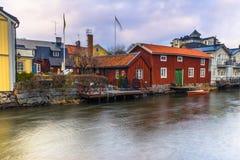Norrtalje Sweden - April 1, 2017: Old town of Norrtalje, Sweden. Norrtalje Sweden - April 1, 2017: The old town of Norrtalje, Sweden royalty free stock photography