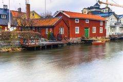 Norrtalje Sweden - April 1, 2017: Old town of Norrtalje, Sweden. Norrtalje Sweden - April 1, 2017: The Old town of Norrtalje, Sweden stock photography