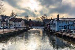 Norrtalje Zweden - 1 April, 2017: Oude stad van Norrtalje, Zweden stock foto