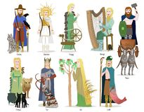 Norse god and goddess collection Stock Images