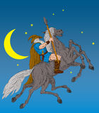 Norse God Odin riding horse. Illustration of the Norse God Odin riding eight-legged horse, Sleipner in the wild hunt. Hand Stock Image