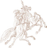 Norse God Odin riding horse. Illustration of the Norse God Odin riding eight-legged horse, Sleipner in the wild hunt. Hand Stock Photography