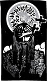 Norse God Odin with Spiral Crows. Woodcut style image of the Viking God Odin with Spiral Crows Royalty Free Illustration