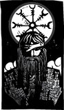 Norse God Odin and Wheel Symbol Royalty Free Stock Photos