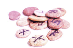 Norse Runes. Made of stone on a white background Royalty Free Stock Photography