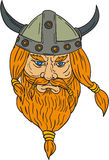 Norseman Viking Warrior Head Drawing Stock Photography