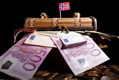 Norsk flagga överst av spjällådan arkivbild