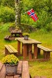 Norsk flagga och grön picknickplats Royaltyfri Bild
